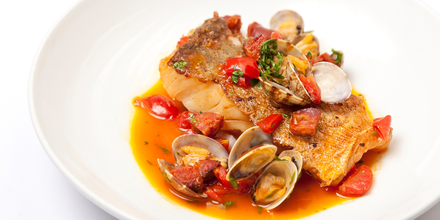 Cod with clams and chorizo