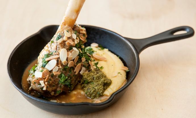 Welsh Lamb shank with soft polenta and Persian lime pesto