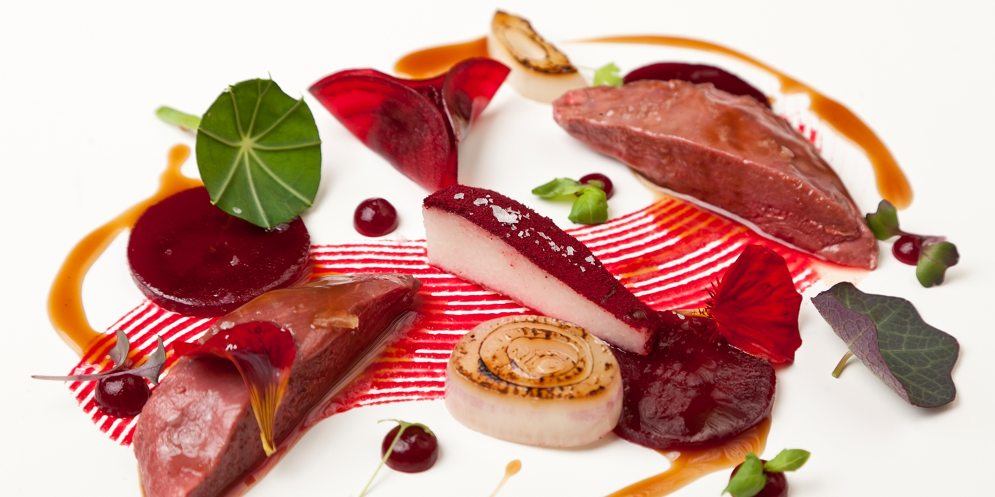 Pigeon with textures of beetroot