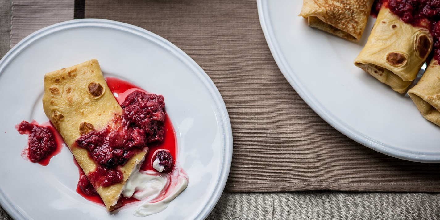 Blintzes with a rhubarb and berry compote