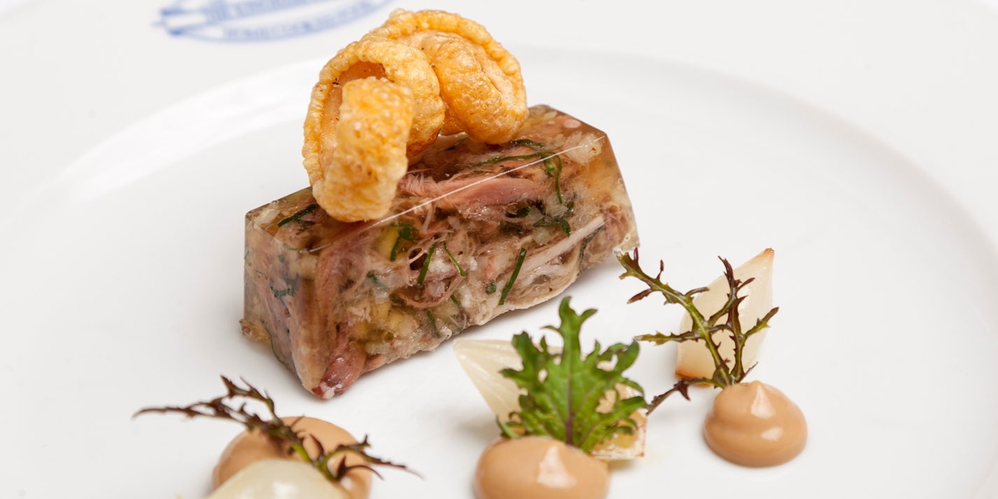 Pressed pig's head terrine with homemade mustard and pickles