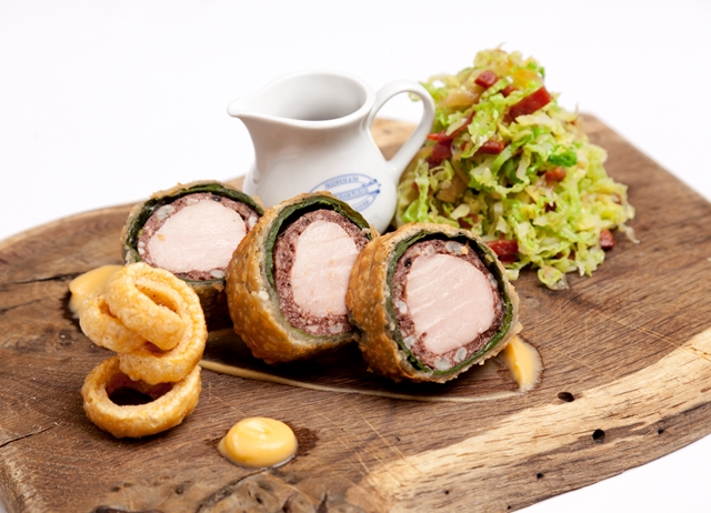 Pork loin and black pudding Wellington with Grandpa's cabbage