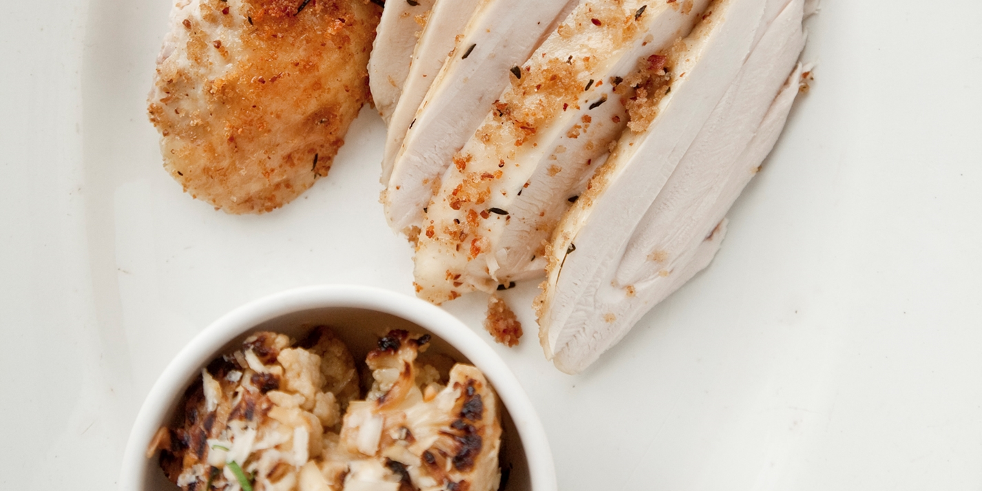 Poached and roasted chicken with almond and thyme crust and chargrilled cauliflower