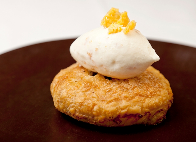 Eccles cake with cheddar cheese ice cream