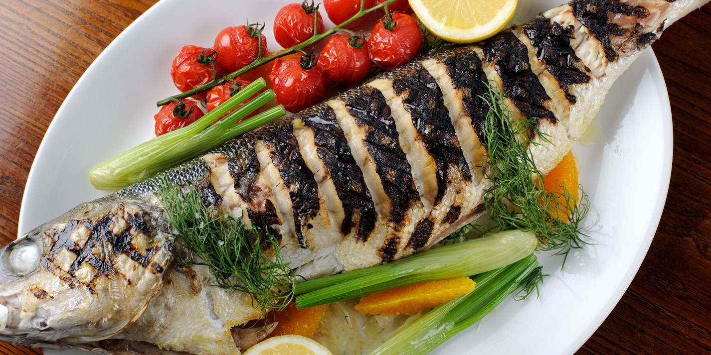 How to barbecue whole sea bass
