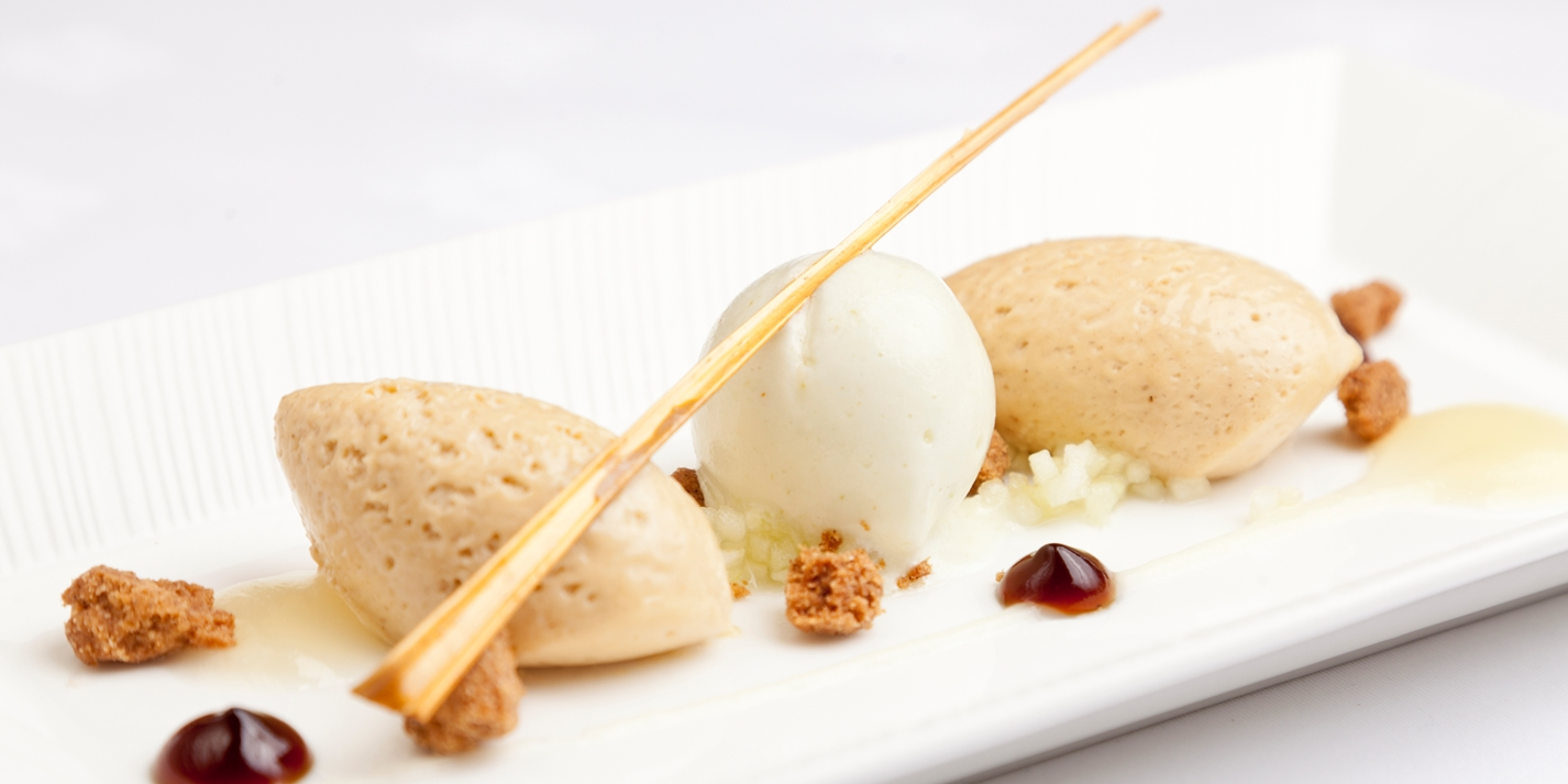 Caramelised white chocolate mousse with variations of apple, muscovado and cinnamon