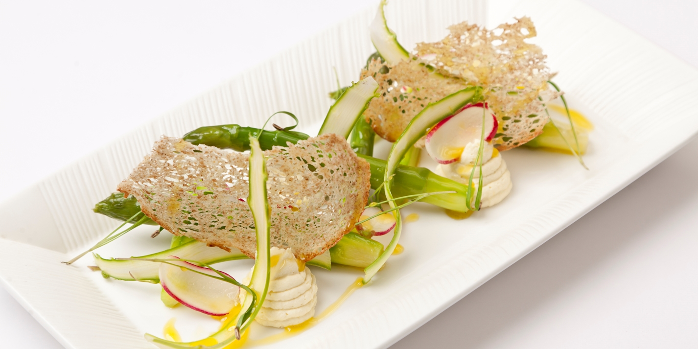Asparagus with smoked cod brandade, radish, burnt butter