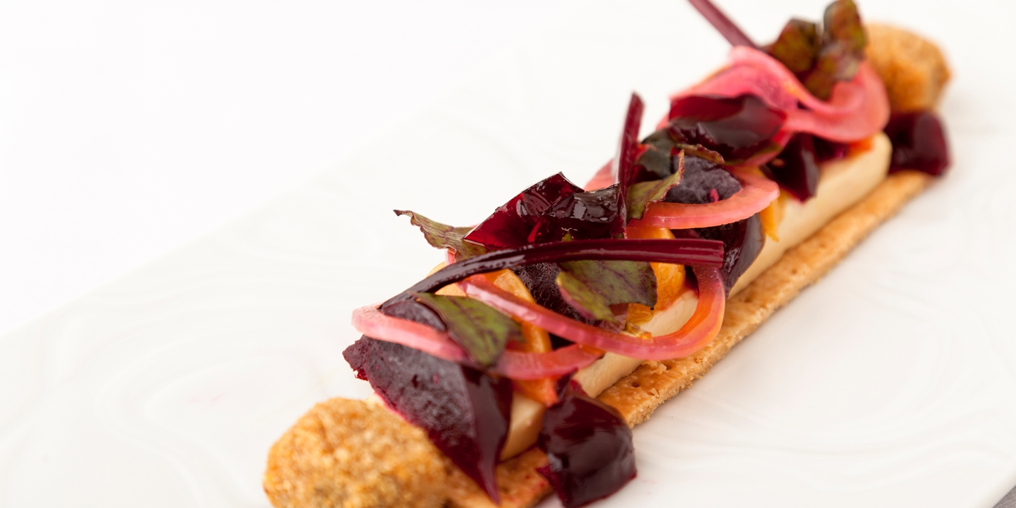 Elvedon beetroot tart with Binham blue cheese beignets