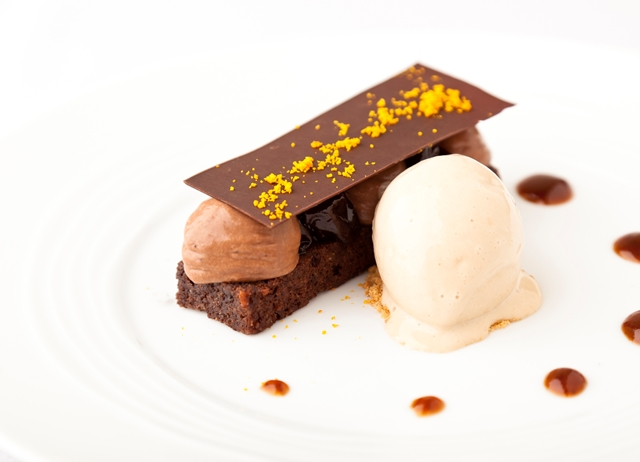 Dark chocolate mousse, poached agen prunes and Earl Grey tea ice cream