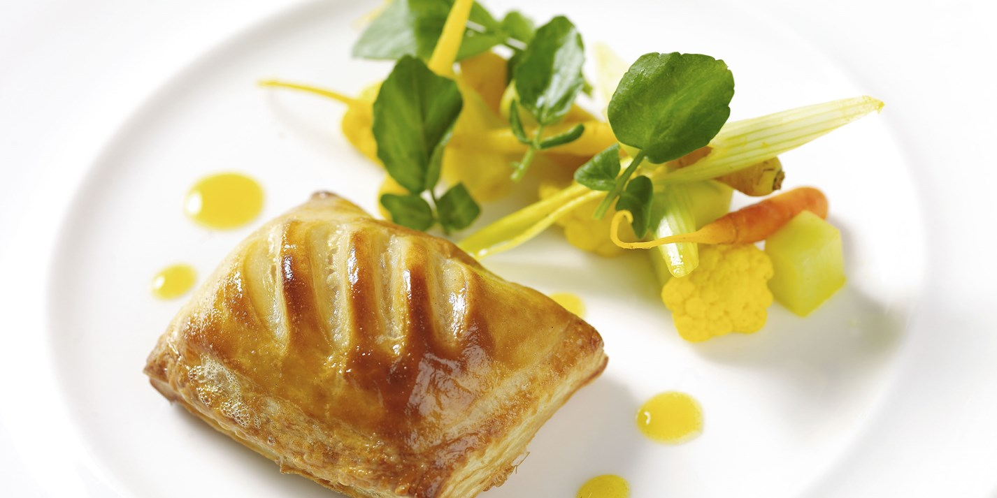 Wild rabbit and leek turnover with piccalilli