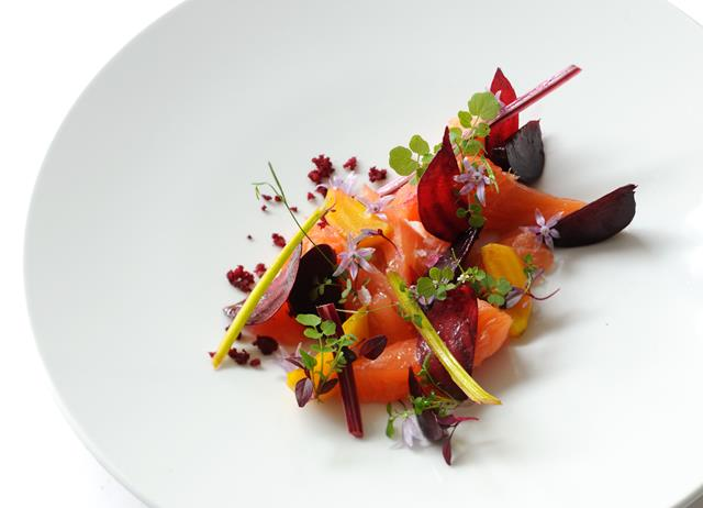 Salmon mi cuit with beetroots