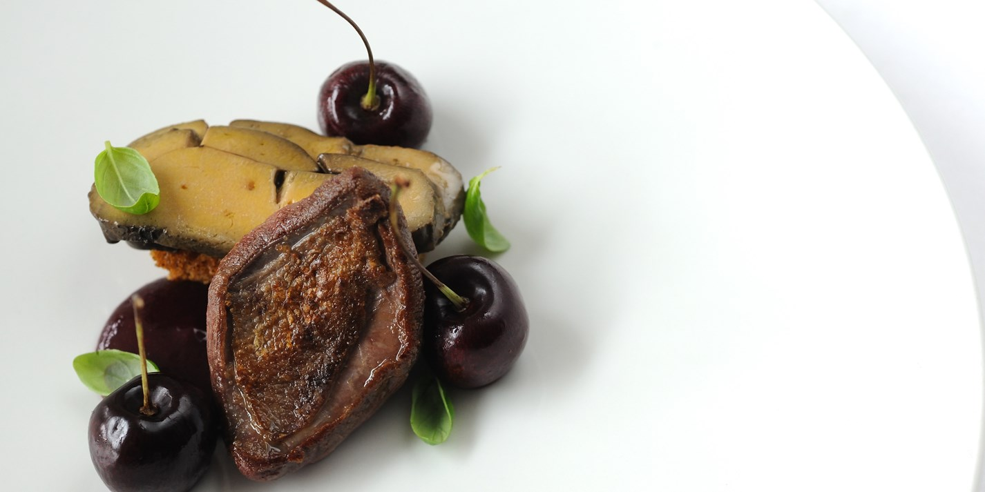 Pigeon, coffee-cured foie gras, Isle of Wight cherries and spiced bread