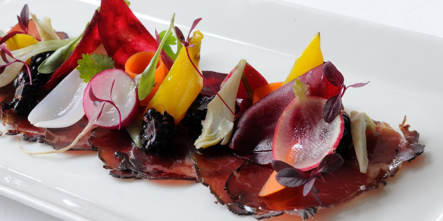 Bresaola, gamble down farm short horn home cured, pickled vegetables