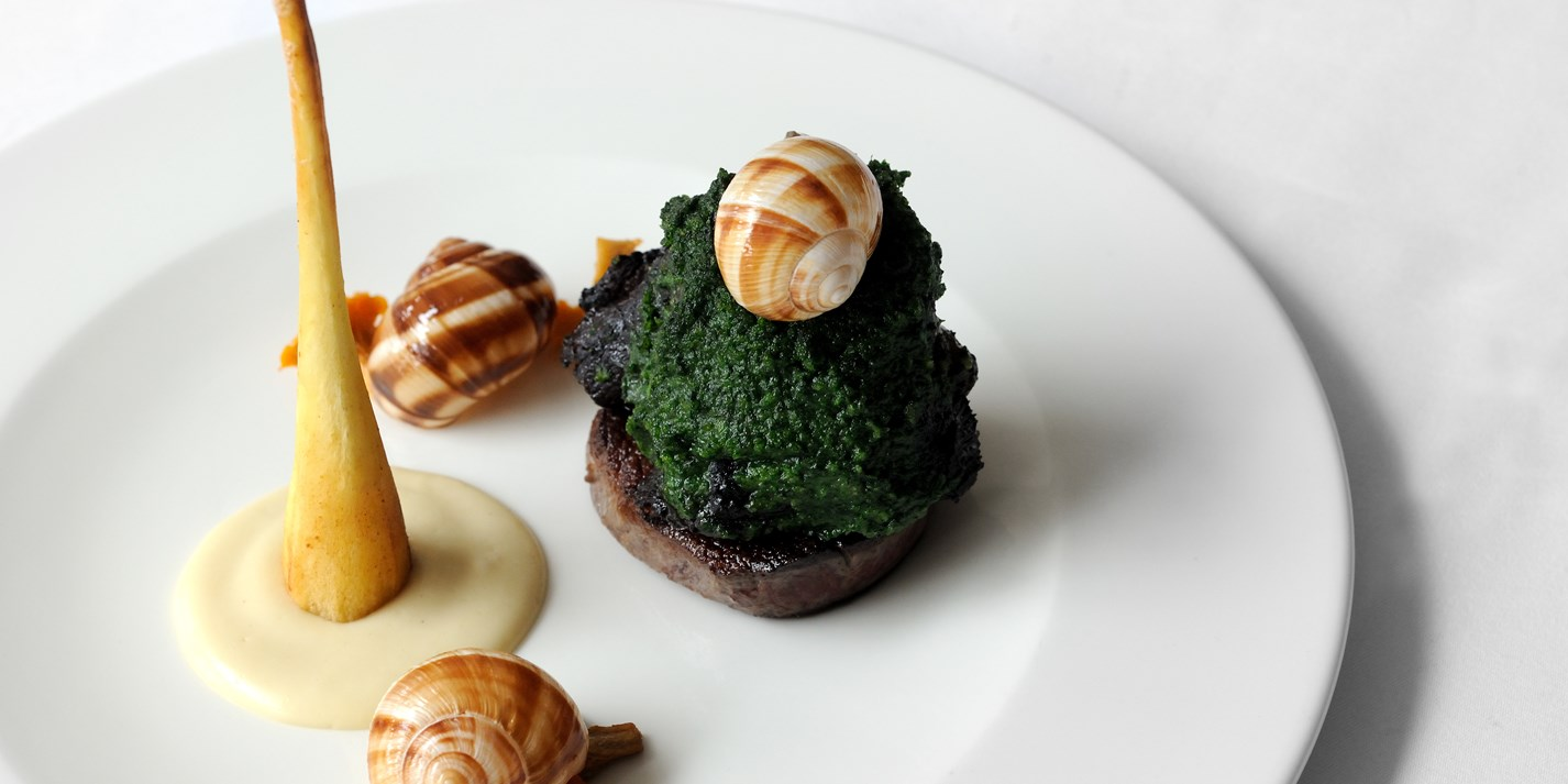Beef cheek and fillet, Dorset snails and parsnip