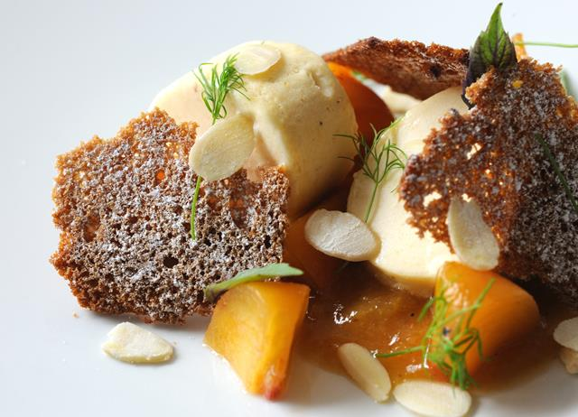 Peaches, lemon verbena and salted almonds