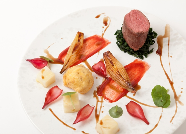 Saddle of venison with shallots, salt baked celeriac and venison sauce