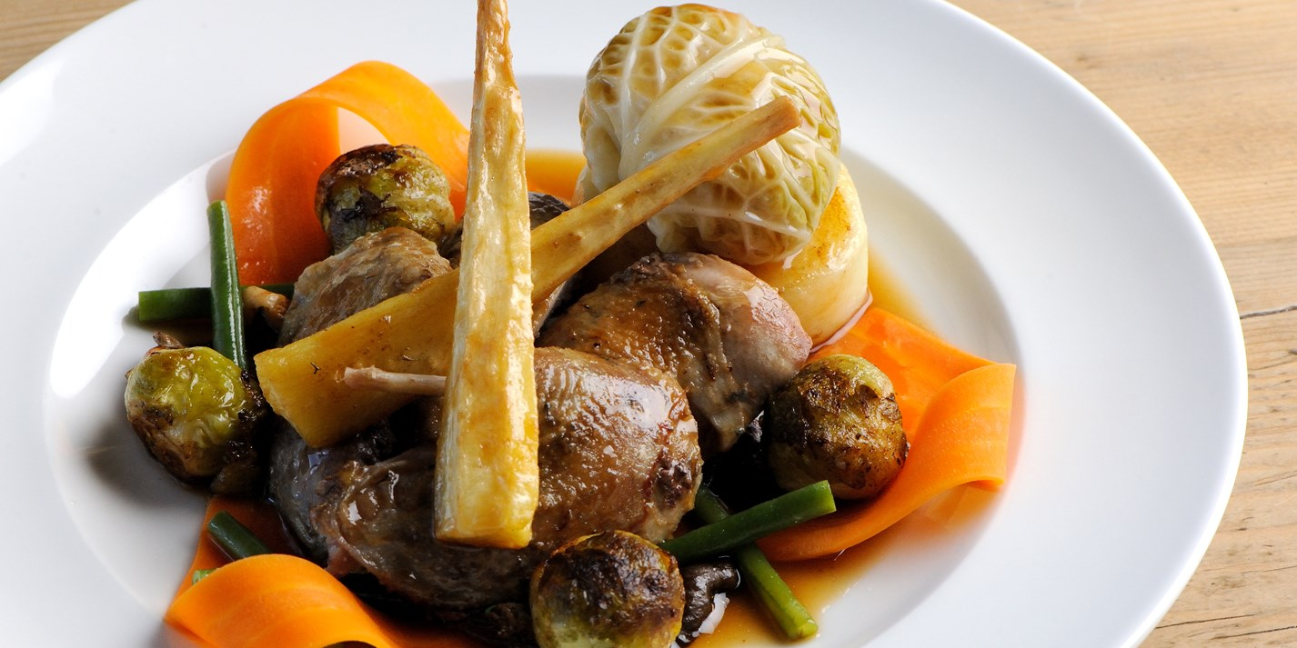 Roast partridge with seasonal vegetables and tarragon jus