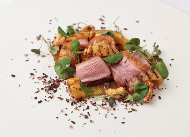 Duck breast salad with burnt coconut, pineapple and cashews