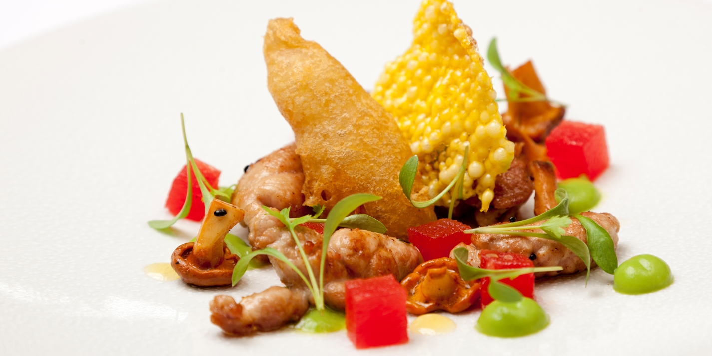 Lamb sweetbreads with pea, watermelon, anchovy and saffron crisp