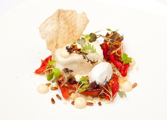 Parmesan 'cloud', Parmesan ice cream, tomato jam, pickled sunflower seeds
