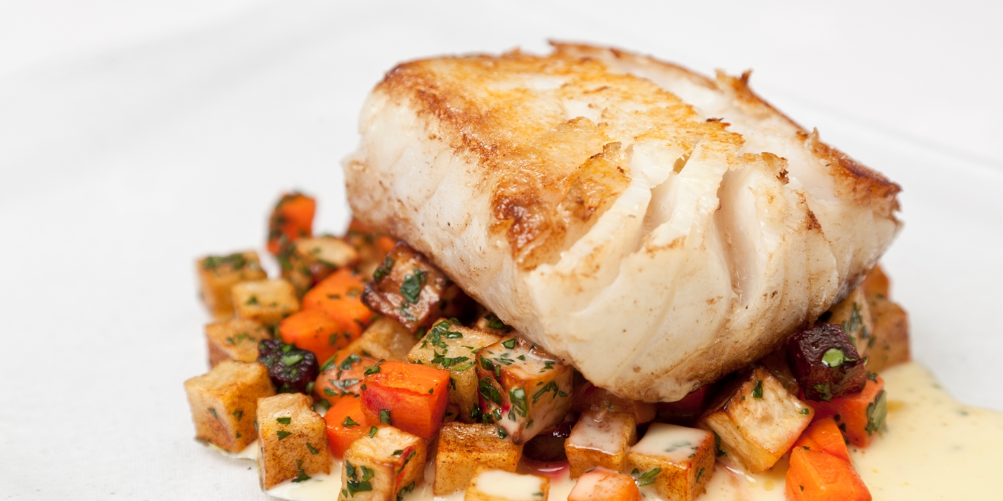Roast cod with lemon beurre blanc and winter ratatouille