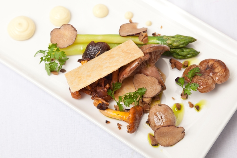 Pastry layers with wild mushrooms, Norfolk asparagus and blue cheese dressing