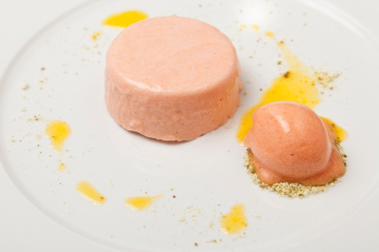 Blood orange mousse with blood orange sorbet