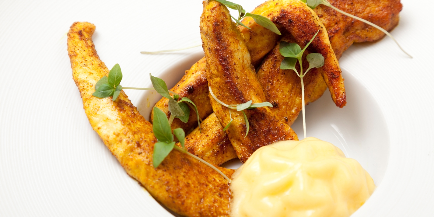 Lightly curried chicken with mango mayonnaise