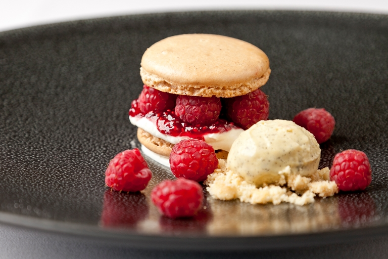Raspberry and vanilla macaroons with vanilla ice cream