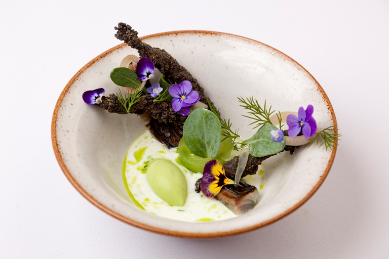 Cured mackerel with cucumber, dill and buttermilk