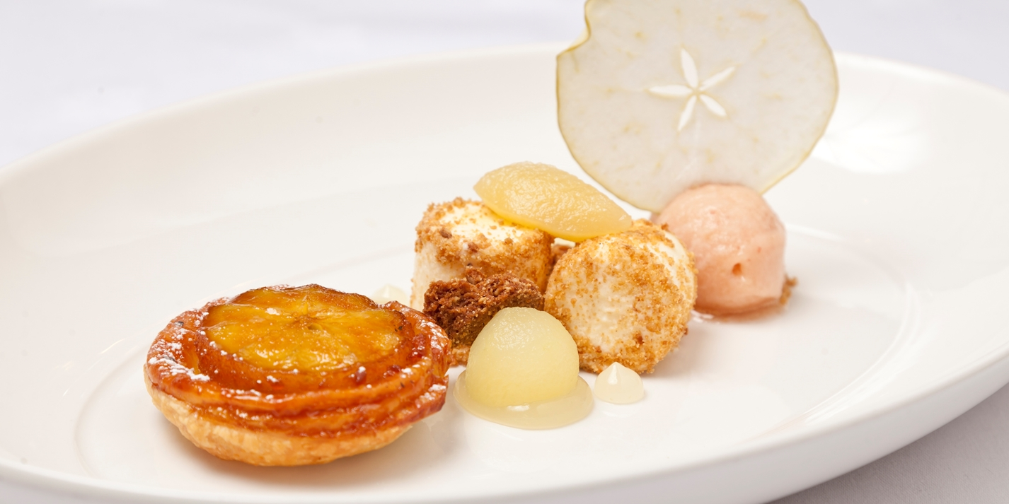 Orchard apples tarte Tatin, sorbet and parfait