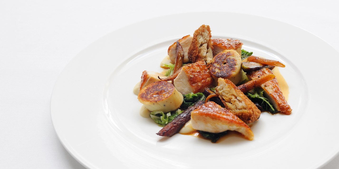 Guinea fowl with boudin blanc, savoy cabbage and white onion purée