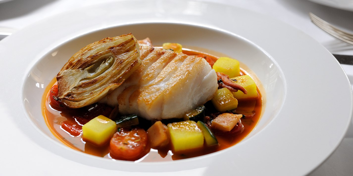 Cod fillet recipe with bouillabaisse sauce great british for Cod fish fillet recipes