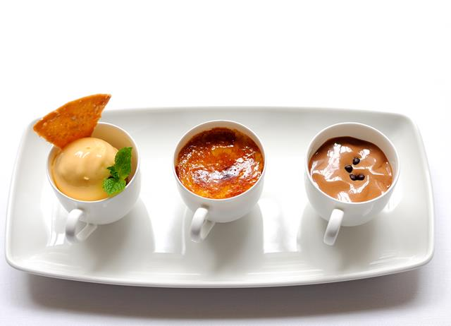 Tonka bean crème brûlée with apricot sorbet and chocolate emulsion