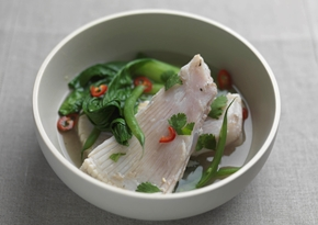 Skate wings poached in miso and ginger with chilli and coriander