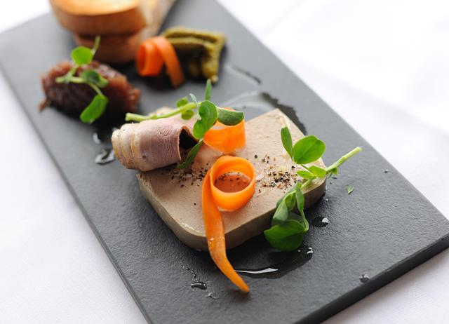 Duck liver parfait with smoked duck breast