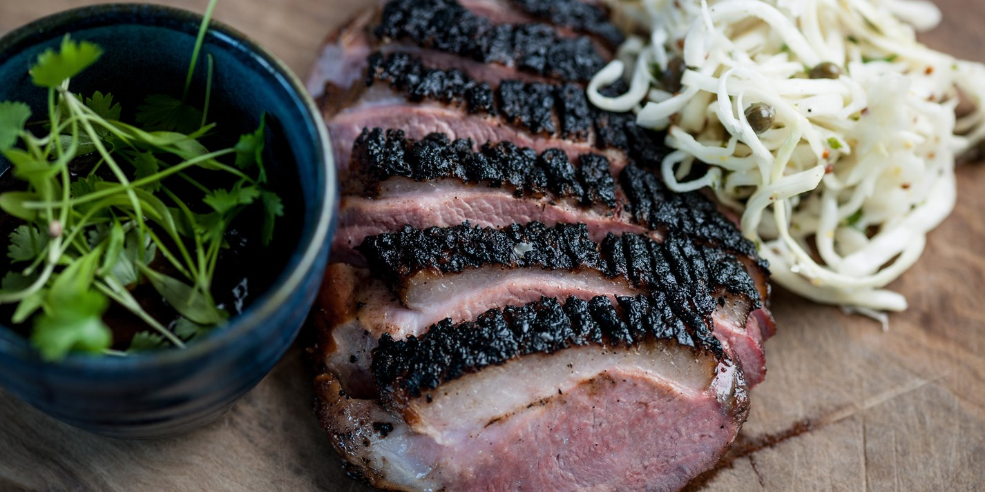 Barbecued Gressingham duck breast with white coleslaw