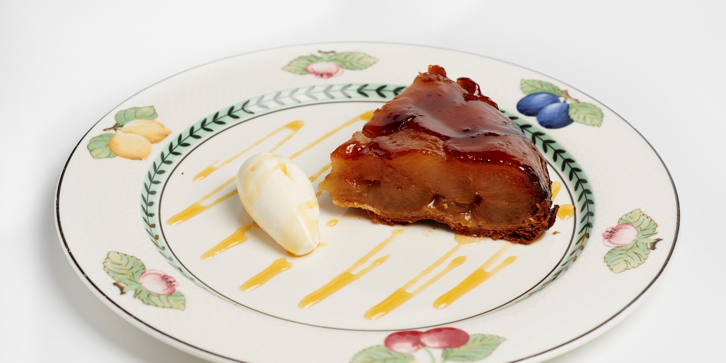 Apple tarte Tatin with crème Normande