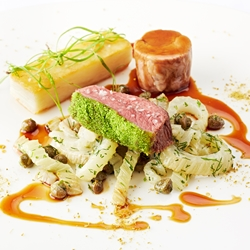 Herb crusted Welsh Lamb chump, liquorice confit lamb neck, caramelised fennel, capers and 'spice of angels'