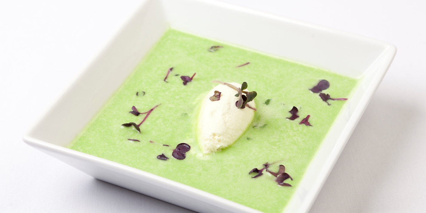 Chilled pea velouté with fennel sorbet and poached apricots