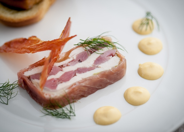 Ham hock and chicken terrine with tonka bean mayonnaise and toasted brioche