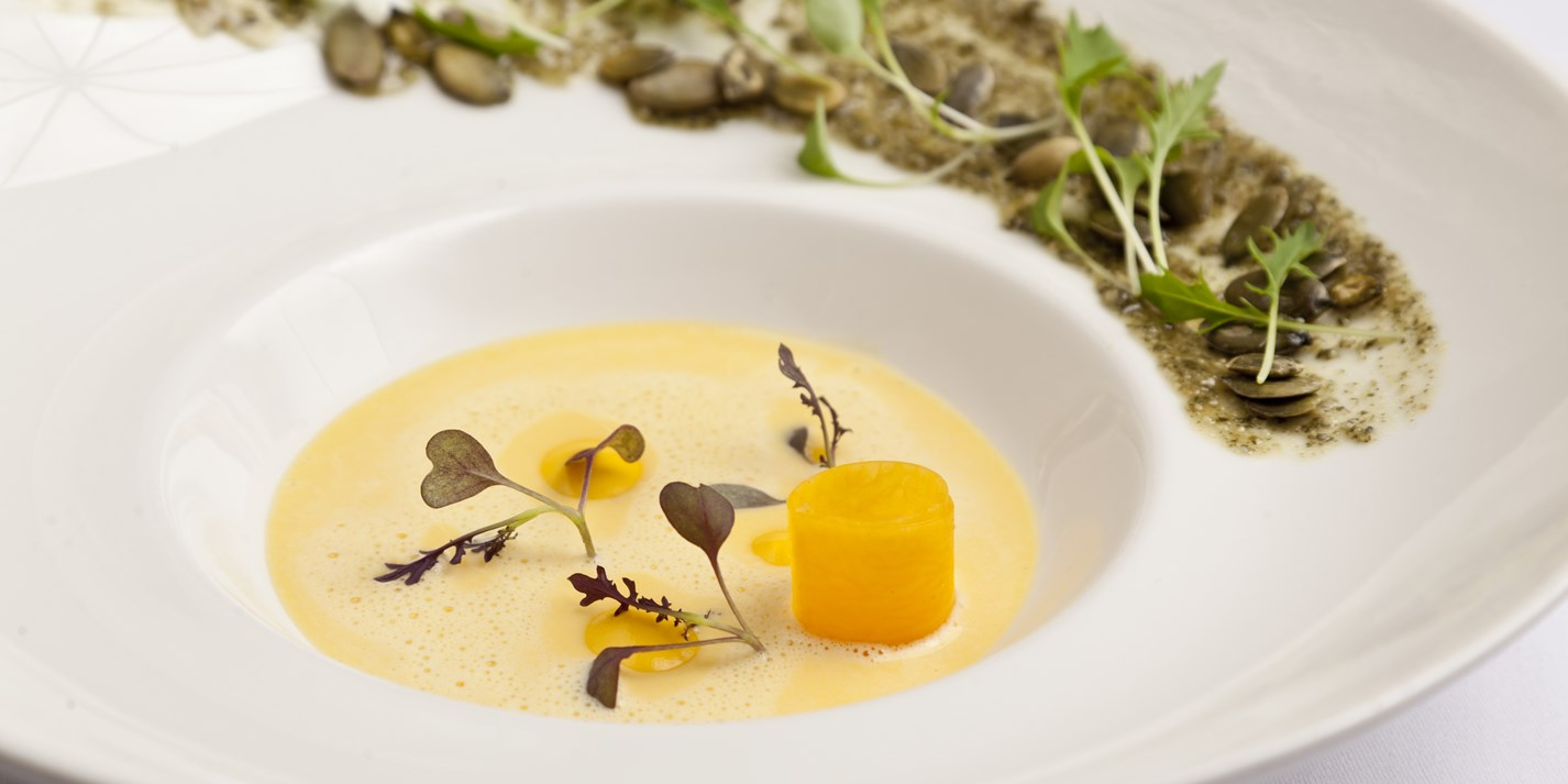 Butternut squash velouté with toasted pumpkin seeds