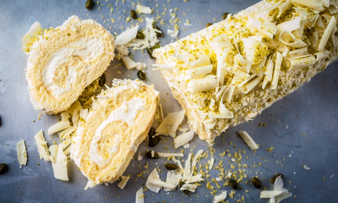 White chocolate and lemon roulade