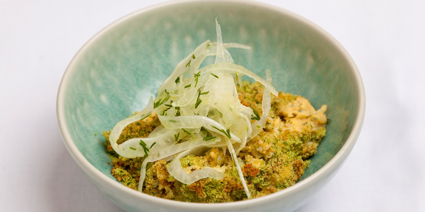 Baked crab, curry, celeriac and fennel