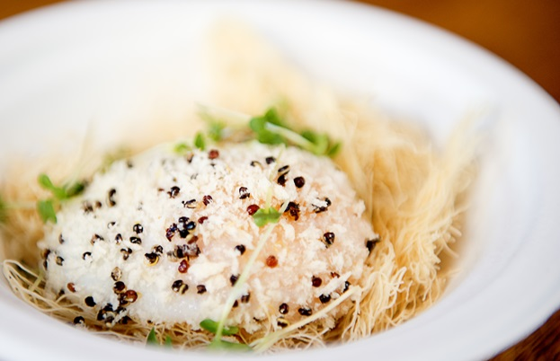 Crackling slow-cooked duck egg