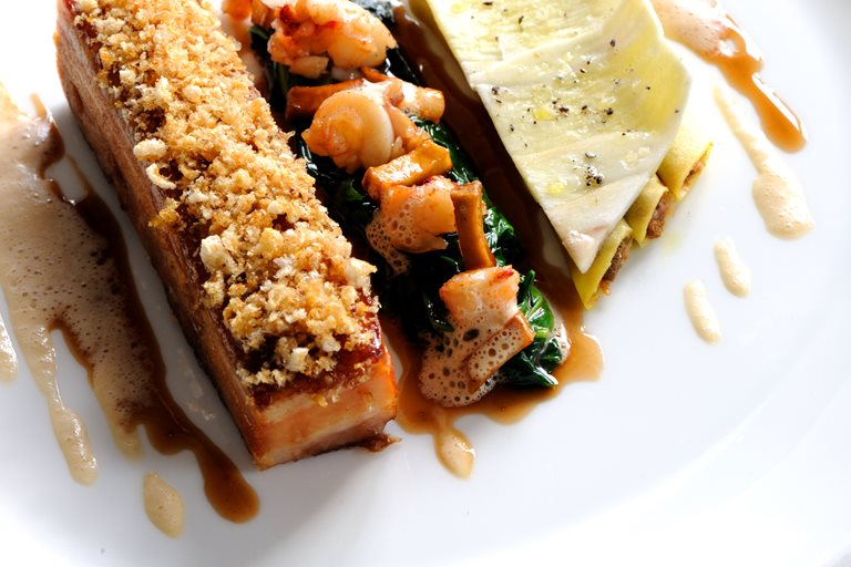 Slow cooked island pork belly with local lobster and cep cannelloni