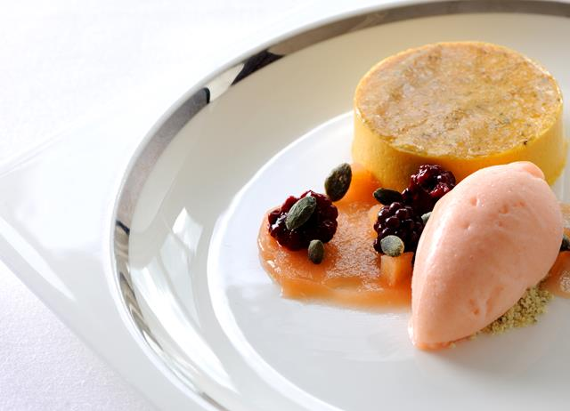 Bavarois of butternut squash with quince sorbet and poached blackberries
