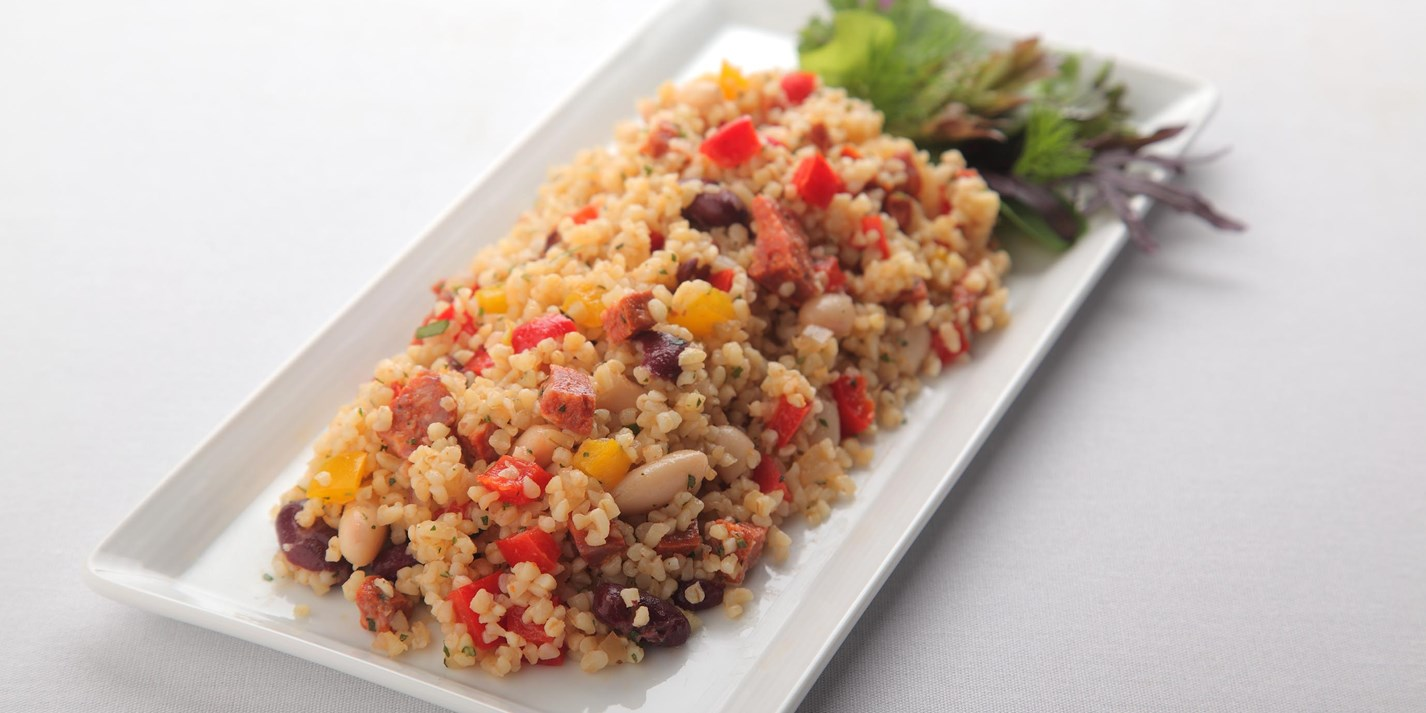 Chorizo, bean and bulgur wheat salad