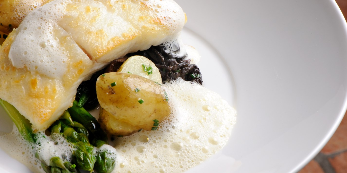 Wild halibut with morels, wild garlic and Jersey Royals