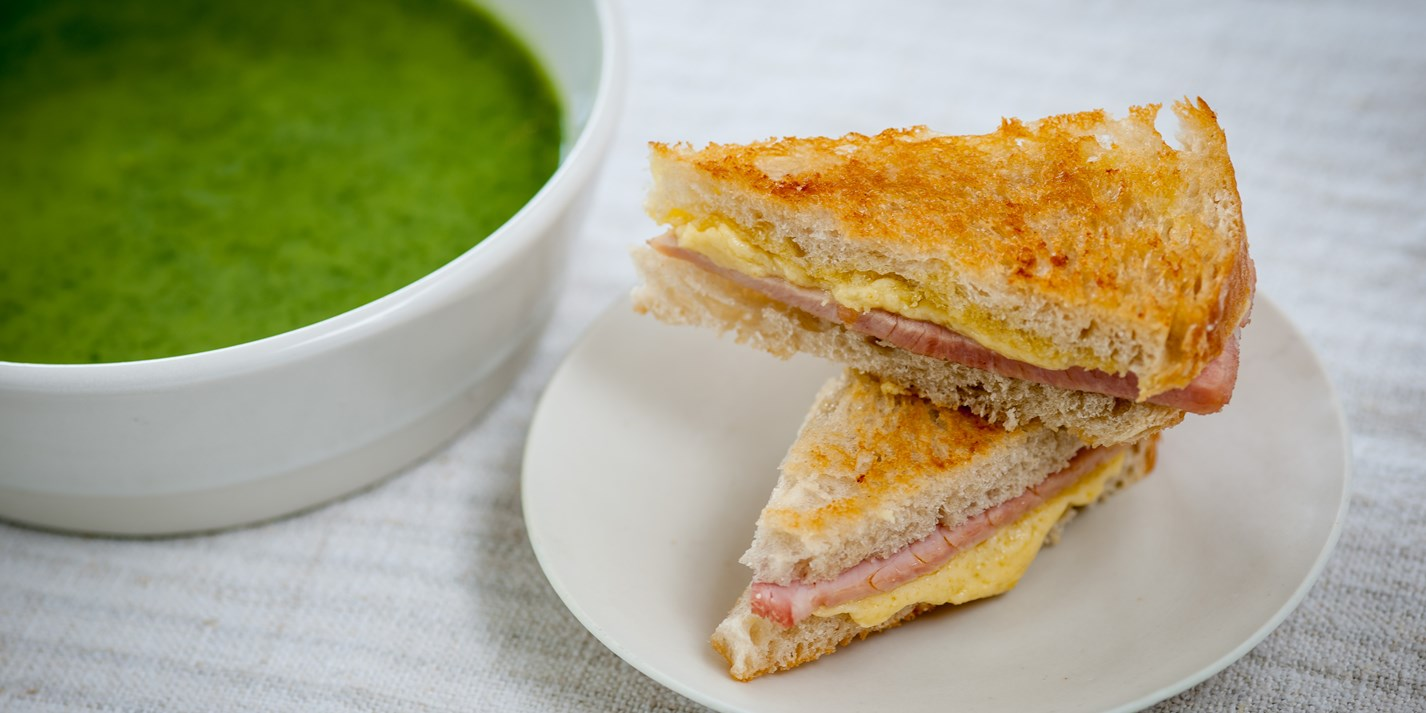 Watercress soup with cheddar toasties